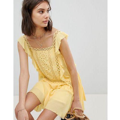 cut work mini dress - yellow marki Free people