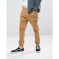 ASOS Drop Crotch Cargo Joggers in Cord - Yellow