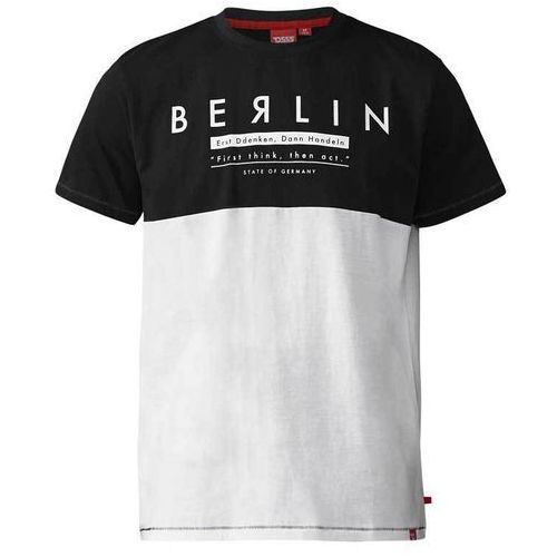 T-shirt męski czarno-biały D555 Hamish - 3XL-6XL