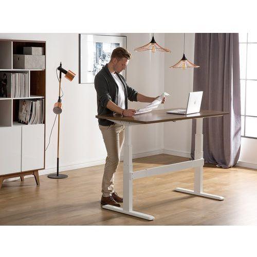 Biurko brązowo-białe 160 x 70 cm regulowane elektrycznie uplift marki Beliani