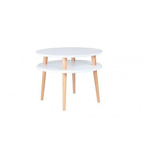 Ragaba Okrągły drewniany stolik kawowy ufo średni - kolor biały/ kolor nóg naturalny buk