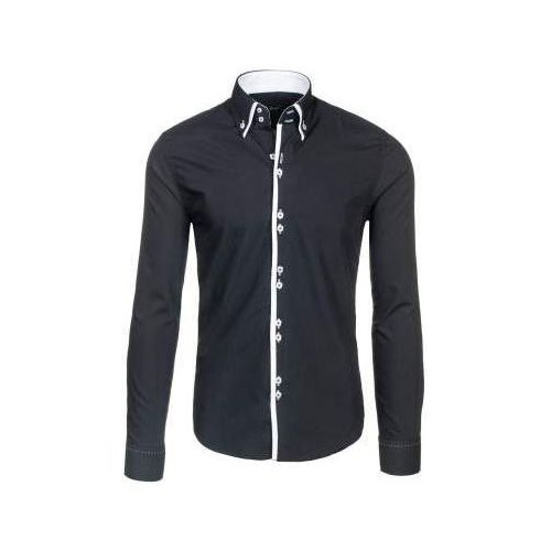 Czarna koszula męska elegancka z długim rękawem Bolf 1721-1