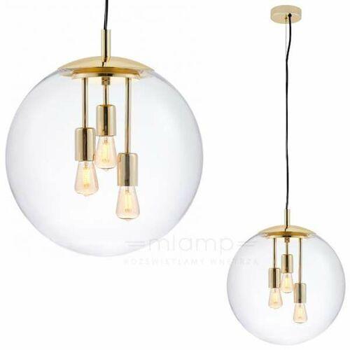 Skandynawska LAMPA wisząca SURYA 10744305 Kaspa loftowa OPRAWA szklany ZWIS ball kula przezroczysta złota