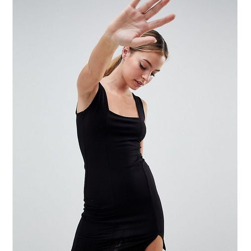Asos petite Asos design petite square neck mini bodycon dress - black