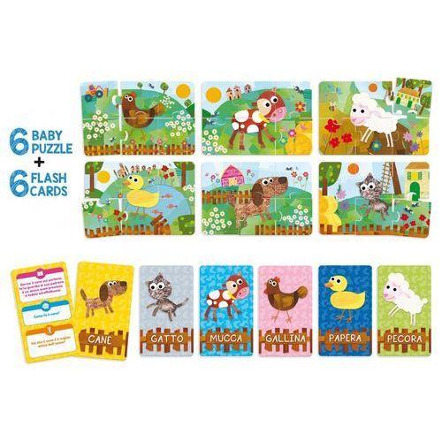 Lisciani Puzzle dziecięce i karty fiszki farma