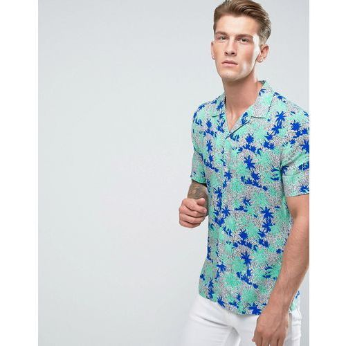 River island revere collar shirt with palm tree print in green - green