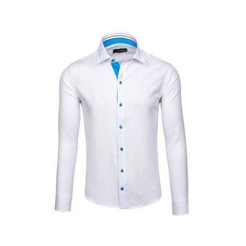 Biała koszula męska elegancka z długim rękawem denley 6923, By mirzad