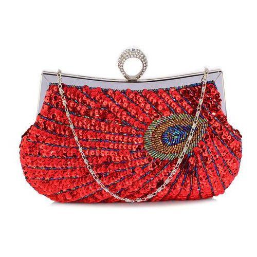 68795452ebd8a Wielka brytania Zjawiskowa torebka wizytowa z cekinami pawie oko czerwona -  czerwony