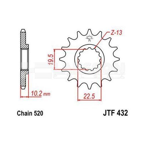Jt sprockets Zębatka przednia jt f432-14 sc, 14z, rozmiar 520 2201182 suzuki dr 350, dr-z 400