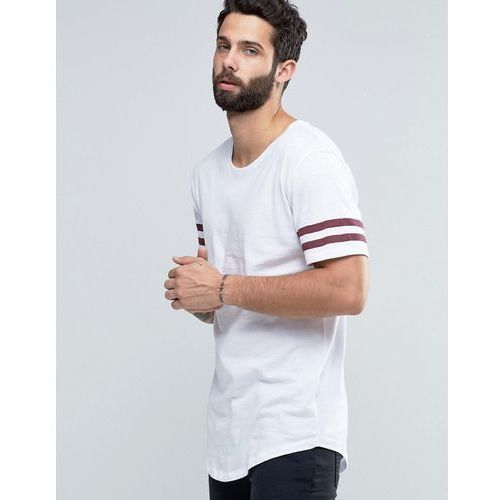 Only & sons longline t-shirt with arm stripes and curved hem - beige