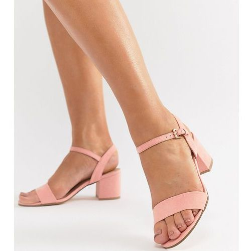 London Rebel Wide Fit Mid Block Heeled Sandals - Pink, kolor różowy
