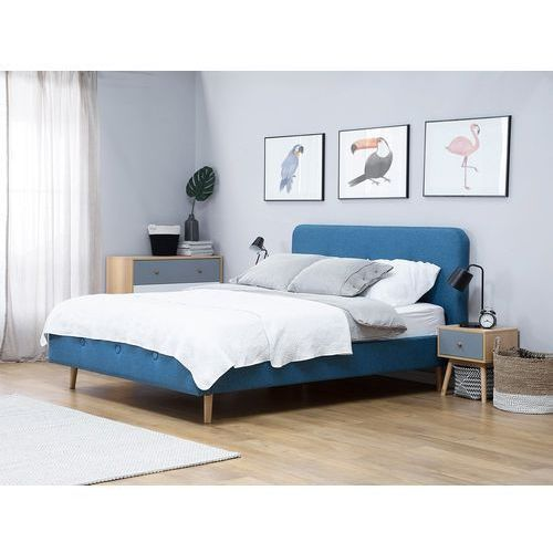 Łóżko tapicerowane granatowe ze stelażem 180 x 200 cm RENNES