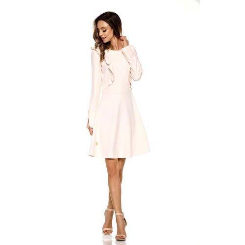 Różowa Rozkloszowana Sukienka z Pionowymi Falbankami, kolor różowy