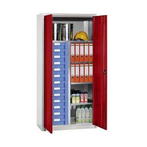 Eurokraft Szafa na materiały i szafa z szufladami, 4 półki, 13 szuflad, jasnoszara, ral 70