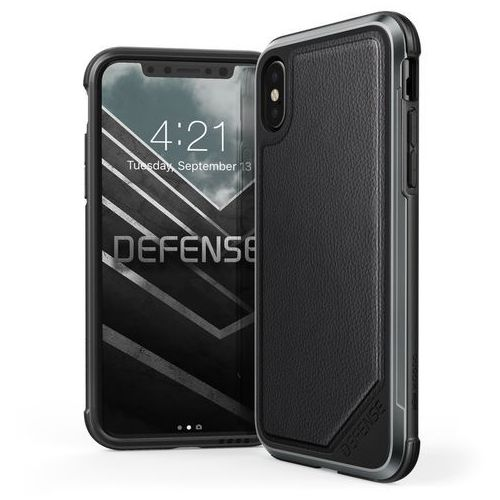 Etui X-Doria Defense Lux Aluminim iPhone X Lether Black, kolor czarny
