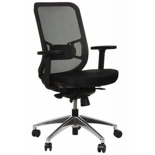 Krzesło obrotowe biurowe z podstawą aluminiową i wysuwem siedziska model gn-310/szary fotel biurowy obrotowy marki Stema - gn