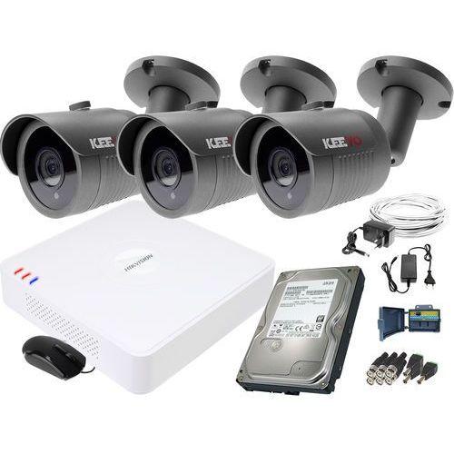 Zm11836 zestaw do monitoringu 3 kamery ir 30m rejestrator hikvision fullhd dysk 1tb marki Keeyo