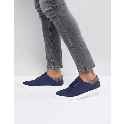 ASOS Lace Up Plimsolls In Navy Faux Suede With Warm Handle Cuff - Navy, kolor szary