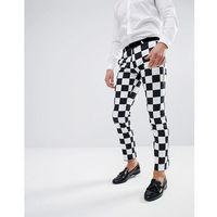 Noose & Monkey Super Skinny Trousers In Checkerboard Print - Black