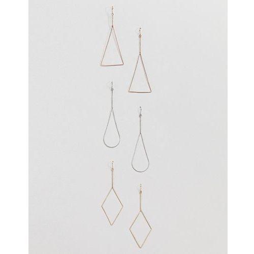 Aldo 3 multipack gold shaped hooped earrings - gold