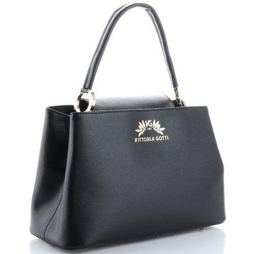 Vittoria Gotti firmowy Elegancki Kuferek Skórzany Czarny (kolory), kolor czarny
