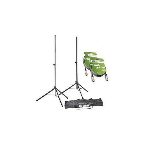 stands sps 023 set 3 - set of 2 speaker stands with bag and 2 xlr cables, statywy głośnikowe wyprodukowany przez Adam hall