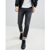 boohooMAN Skinny Jeans With Floral Embroidery In Grey Wash - Grey, jeans