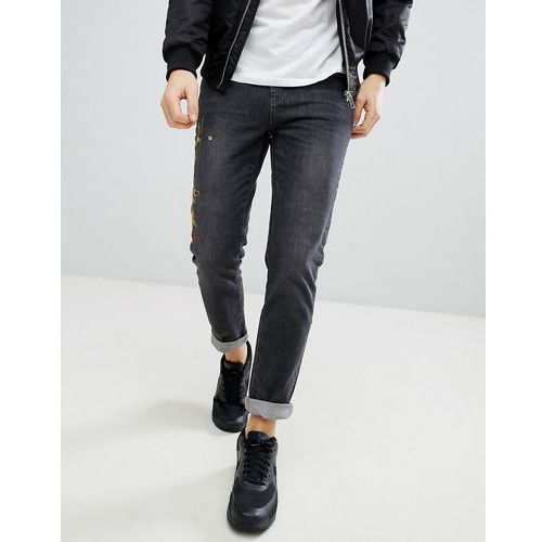 skinny jeans with floral embroidery in grey wash - grey marki Boohooman