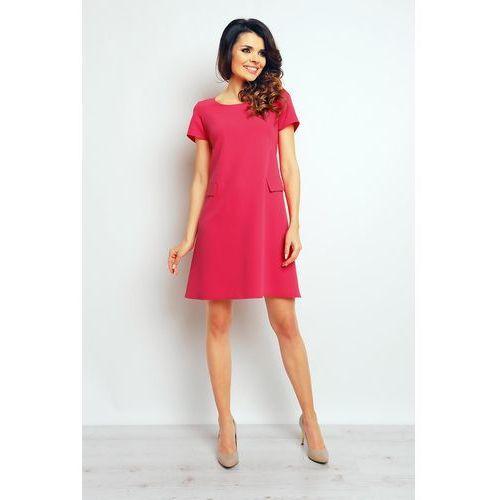Infinite you Różowa szykowna rozkloszowana sukienka