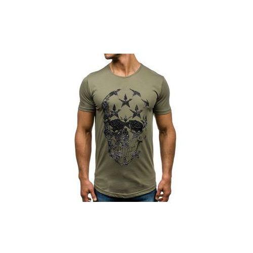 T-shirt męski z nadrukiem zielony denley 301 marki Breezy
