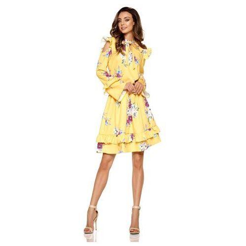 bcc0660fa8 Żółta wzorzysta sukienka w kwiaty z falbankami typu cold shoulder marki  Lemoniade