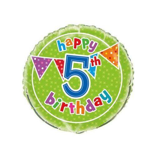Balon foliowy Happy Birthday na 5 urodziny - 47 cm