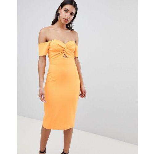 bardot twist front bodycon dress - orange, River island