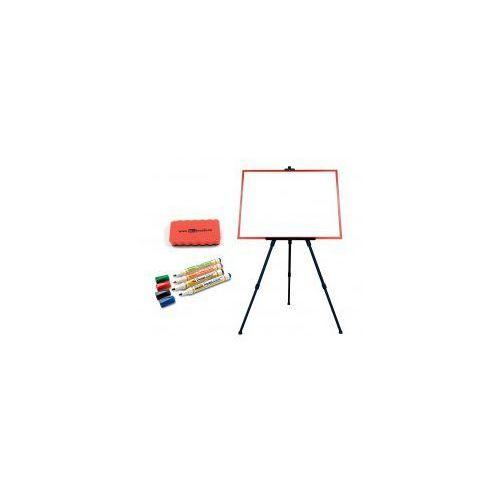 Zestaw - tablica magnetyczna 60x40 rama czerwona + sztaluga + markery + gąbka marki Allboards