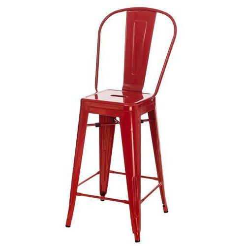 Stołek barowy paris back czerwony inspirowany tolix marki D2.design