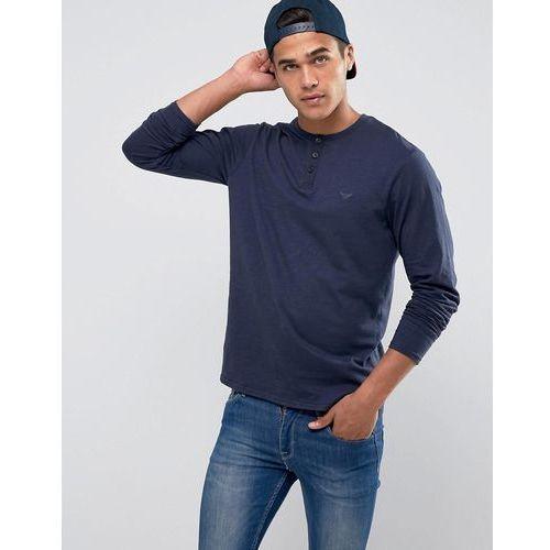 slub long sleeve grandad t-shirt - navy, Threadbare, XL-XXL