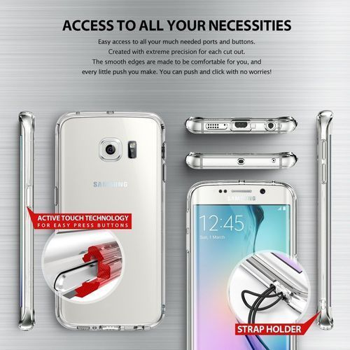Obudowa Rearth   Etui Ringke Fusion Case + Folia ochronna   Samsung Galaxy S6 Edge   kolor Smoke Black - Smoke Black - produkt z kategorii- Futerały i pokrowce do telefonów