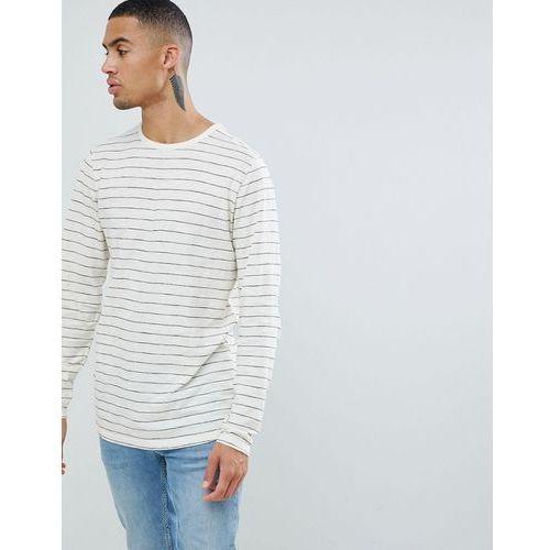 striped long sleeve cotton slub top - white marki D-struct