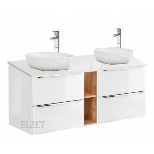 COMAD szafka Capri White 2S biały połysk/dąb craft złoty pod 2 umywalki nablatowe + moduł otwarty + blat 140 biały połysk CAPRI WHITE 2x820 + 810 + 893, CAPRIWHITE2x820B.810B.893