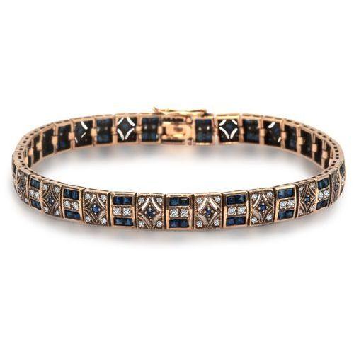 Kolekcja Wiktoriańska - złota bransoletka z diamentami i szafirami