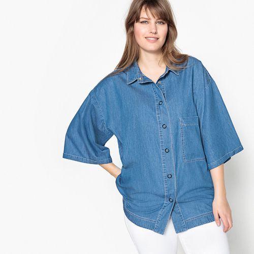 Dwukolorowa koszula z denimu z krótkim rękawem, kolor niebieski