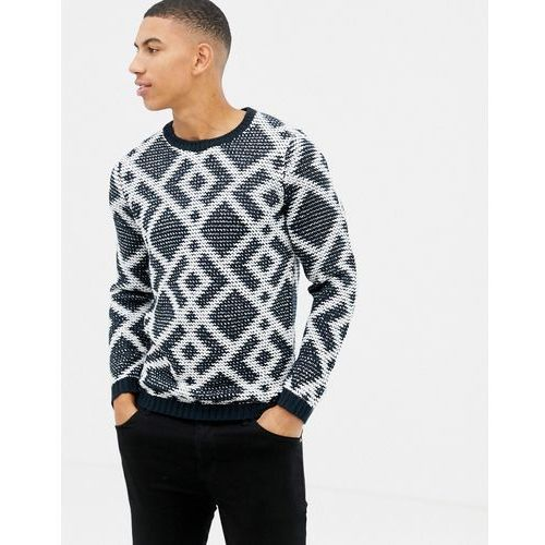 knitted jumper with geometric jacquard in navy - navy marki Tom tailor