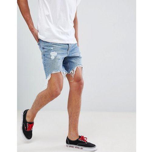 slim fit denim shorts in mid blue with rips - blue, Bershka