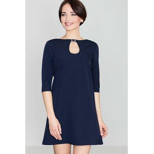 Niebieska Mini Trapezowa Sukienka z Łezką, w 4 rozmiarach