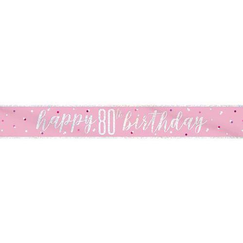 Baner Happy Birthday różowy na 80 urodziny - 274 cm - 1 szt. (0011179834983)