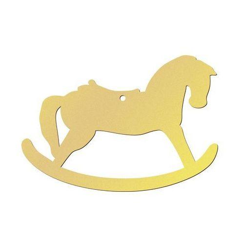 Congee.pl Zawieszka drewniana koń na biegunach złoty - 10 cm - 1 szt. (5907509922725)