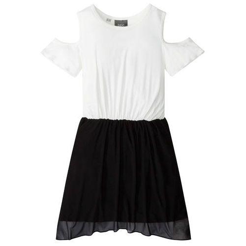 6ef6004444 Sukienka z wycięciami na ramionach czarno-biel wełny marki Bonprix