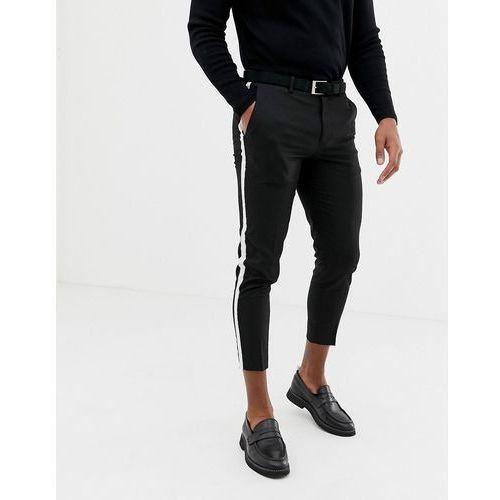 Burton menswear cropped smart trousers with side stripe in black - black