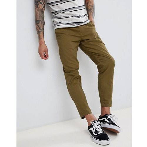 elastic waist cropped chino trousers - green marki D-struct