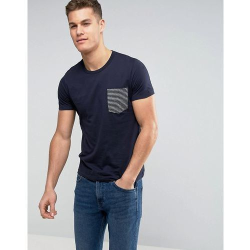 French Connection T-Shirt with Contrast Stripe Pocket - Navy